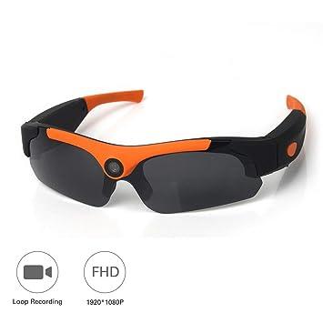 OOLIFENG 1080P HD Mini Gafas Cámara, Espía Gafas con Cámara DV Videocámara Grabador De Vídeo Digital Cámara para Deportes Al Aire Libre,Orange: Amazon.es: ...