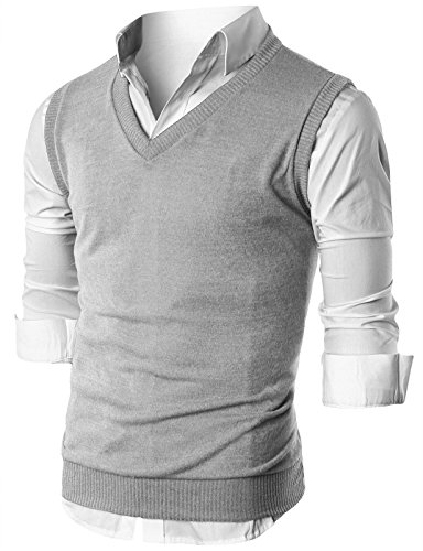 Ohoo Mens Slim Fit Casual V-Neck Knit Vest/DCV010-GREY-S