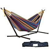 Clearance! Sinma Double Canvas Travel Hammocks Ultralight Camping Hammock Portable Beach Swing Bed with Space Saving Steel Stand Includes Portable Carrying Case (Tropical)