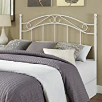 Traditional Styling Metal Headboard, with Adapter Plates, Curved lines & Fancy Scrolled Metalwork (White)