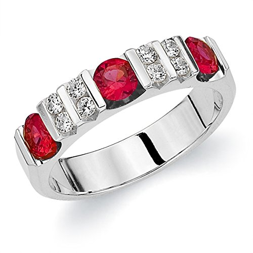 14K White Gold Diamond & Ruby Ring (.90 cttw, F G Color, VVS1 VVS2 Clarity)