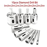 Best to Buy 10pcs Diamond Hole Saw Drill Bit Set 6mm-30mm For Tile Ceramic Glass Porcelain Marble c-cut tools hole saw tempered glass drill bit non-arbored arbored coping sea press dremel kit