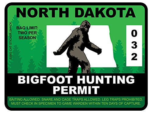 Bigfoot Hunting Permit - NORTH DAKOTA (Bumper Sticker)