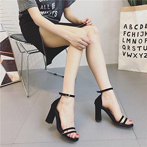 ZHUDJ Sandalias De Tacón Verano Todo Coincide con Sandalias De Tacón Alto con Gruesas Transparente Pedicura Zapatos De Mujer,Negro,38 Thirty-eight|black