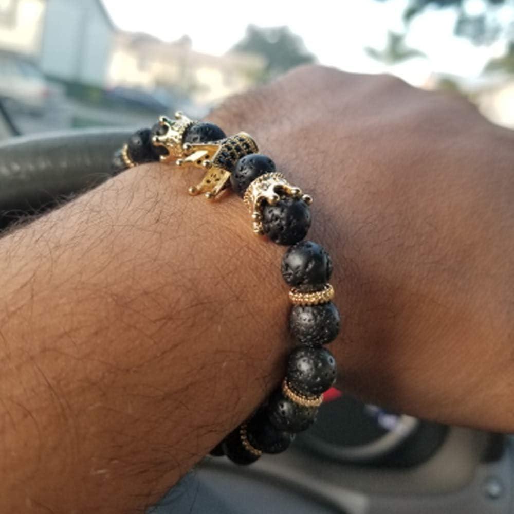 couronnes CZ,pierre volcanique King Lava Black et zircone cubique perles en pierre naturelle cadeaux de bijoux hommes femmes 8mm bracelets /élastiques en pierres pr/écieuses Bracelet Crown King