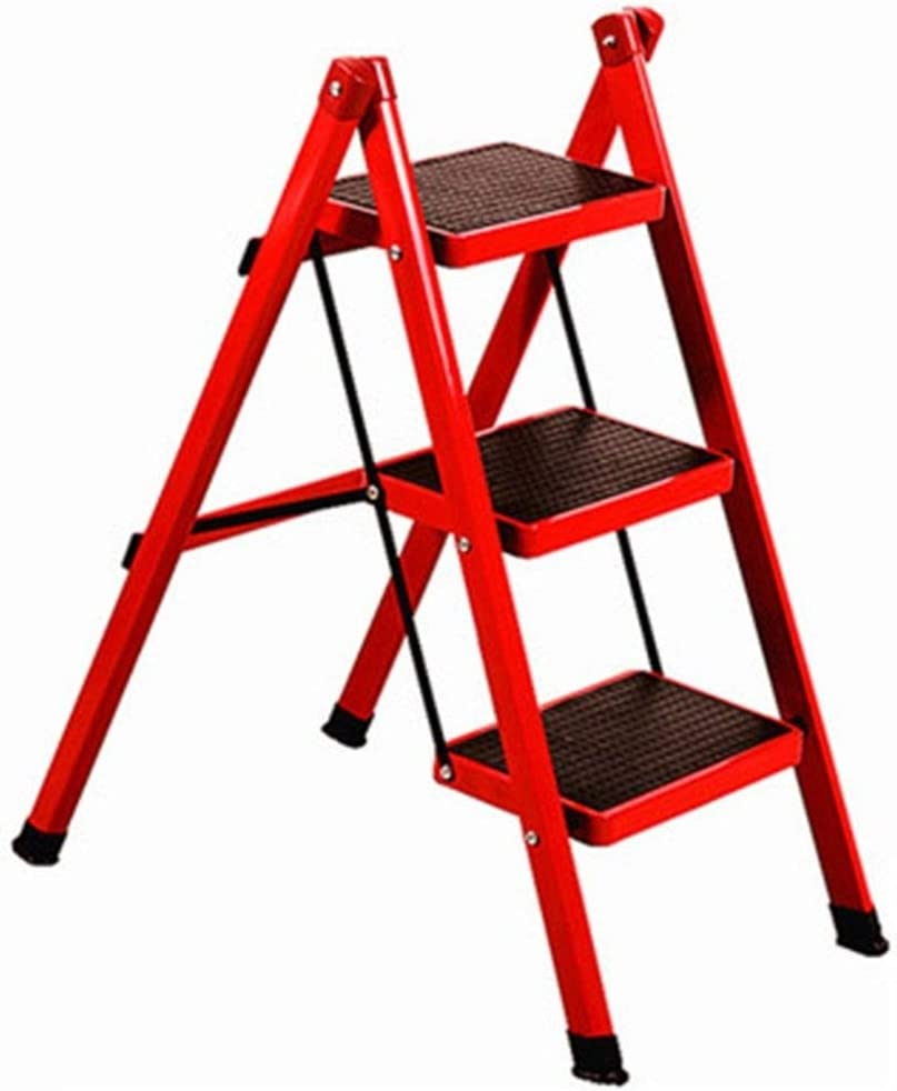 SCBED Gaojian aleación de Aluminio pequeña Escalera - Escalera Plegable 3 Paso de Grosor Pedal Tubo de Acero 6 Colores Disponible (Color : F): Amazon.es: Hogar