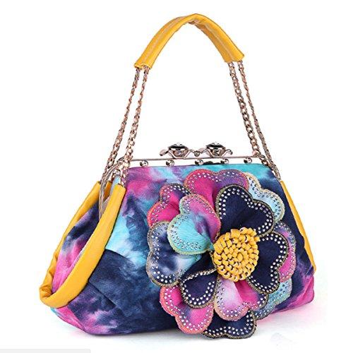 GSHGA Nuevo Bolso Color Denim Diamond Shoulder Bags Messenger Bag Bolsos De Flores Ladies Hand-held Diagonal Package,Red Yellow