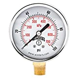 Winters PEM Series Steel Dual Scale Economical All Purpose Pressure Gauge with Brass Internals, 0-100 psi/kpa, 2-1/2