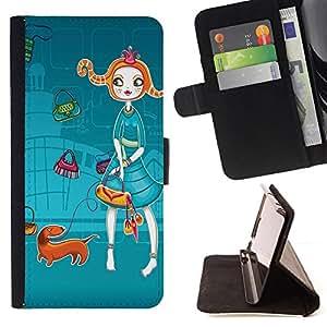 Bright-Giant (Redhead Girl Dachshund Cartoon) Modelo Colorido Cuero Carpeta Tirón Caso Cubierta Piel Holster Funda Protección Para Sony Xperia Z5 Compact Z5 Mini (Not for Normal Z5)