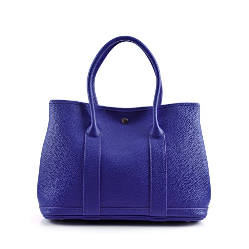 - Viviesta Women's Genuine Calf Leather Garden Large Tote Shoulder Bag Handbag With Scarf - Blue L