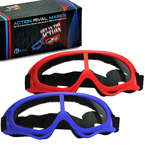 Kiloxa Rival Mask - Eye Safety Glasses for Kids - Perfect for Nerf Rival Games - 2-Pack Red/Blue Foam Gun and Blaster Safety Goggles with Anti Fog Protection - Have Fun, Play Hard, Be Safe