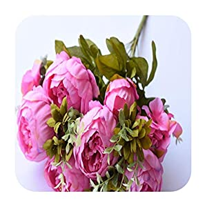 Artificial Fowers 13 Heads/Bouque Christmas Artificial Flowers Silk Flower European Fall Vivid Peony Fake Leaf Wedding Home Party Decoration,Fuchsia 30