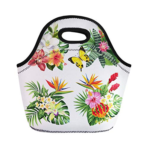 Semtomn Lunch Bags Bali Tropical Summer Bouquet Palm Leaves Exotic Flowers Neoprene Lunch Bag Lunchbox Tote Bag Portable Picnic Bag Cooler Bag