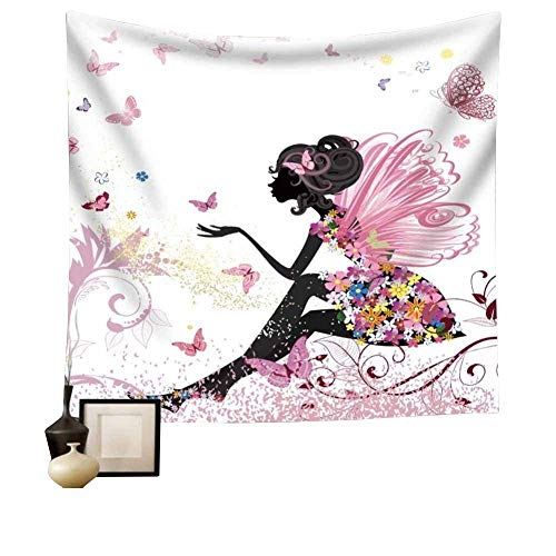Pink Butterfly Girl with Floral Dress Tapestry Wall Hanging Girl with Fairy Angel Wings Ornamental Floral Foliage Nature Forest Tapestry for Home Dorm Living Room Decor HYC02-B-US 90''x 59'' 230150 cm by Hense