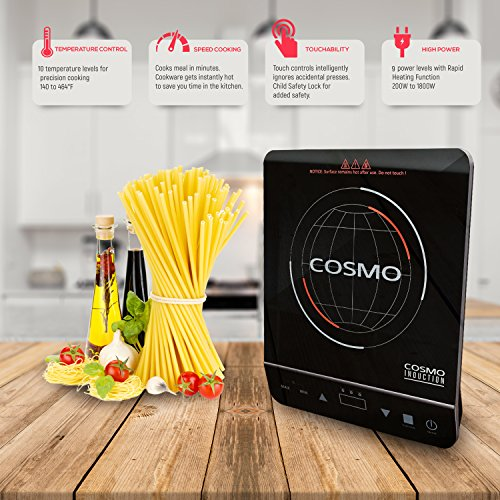 Cosmo Portable Electric Induction Cooktop with Rapid Heating, Sensor LED Display, Safety Lock, Energy Efficient Countertop Stove Single Burner, 1800-Watt, COS-YLIC1 by Cosmo (Image #2)