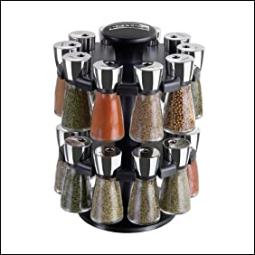 Cole & Mason Herb and Spice Rack with Spices - Revolving Countertop Carousel Set Includes 20 Filled Glass Jar Bottles