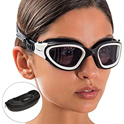 Swim Goggles + Exclusive Design Case by AqtivAqua ~ Wide View Swimming Goggles for Adult Men Women Youth Child (White/Black color)