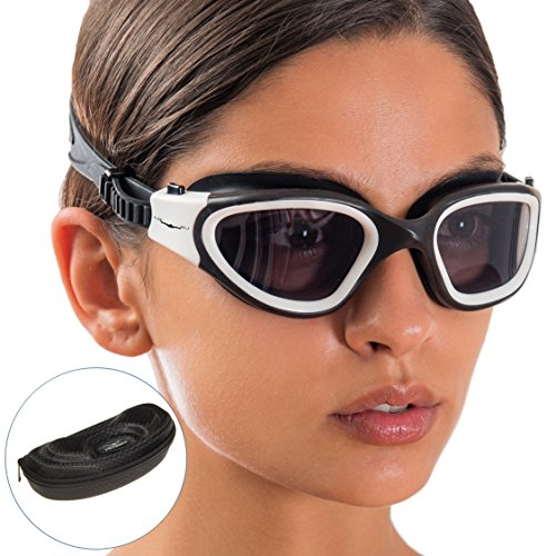 Swim Goggles + Exclusive Design Case by AqtivAqua ~ Wide View Swimming Goggles for Adult Men Women Youth Child (White/Black - Womens Goggles Swimming