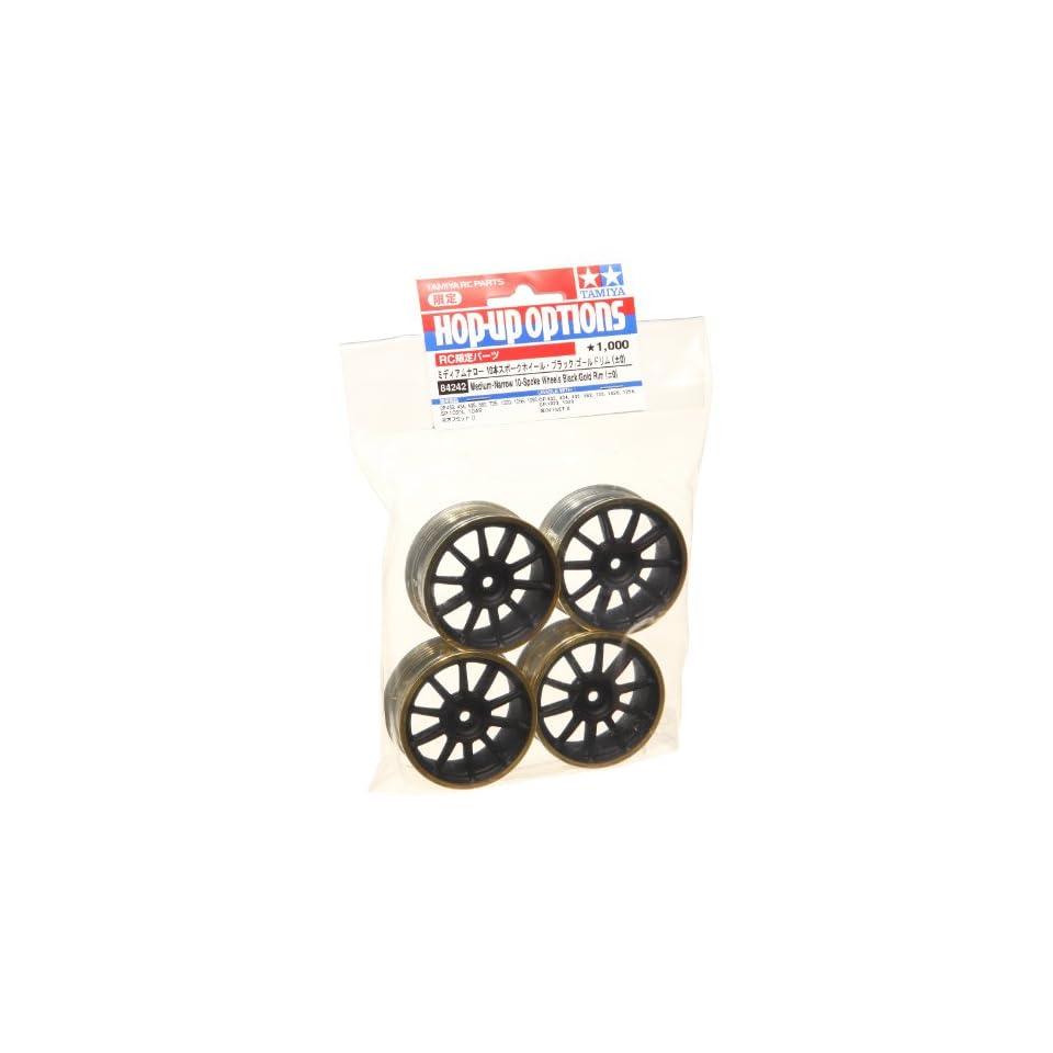Tamiya 84242 Medium Narrow 10 SP Wheels Black/Gold Rims/0
