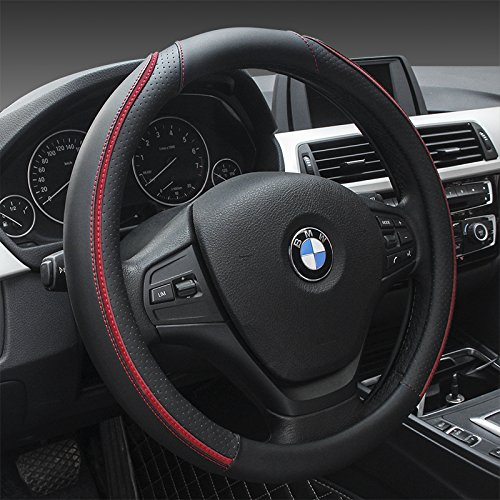 (Sino Banyan Microfiber Leather Steering Wheel Cover Universal 15 inch,Anti-Slip,Black Red Line)