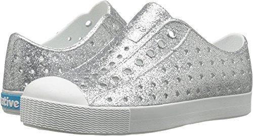 Native Shoes Girls' Jefferson Junior-K Slip-On, Silver Bling Glitter/Shell White, J2 M US Little Kid by Native Shoes (Image #3)