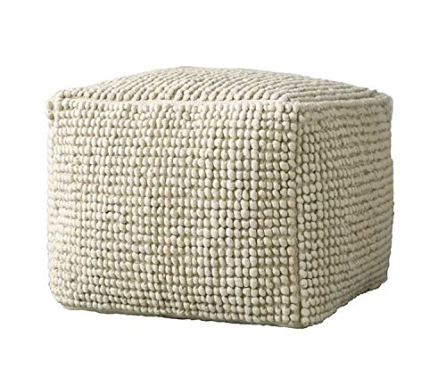 White Square Wool & Cotton Pouf by Heart of America