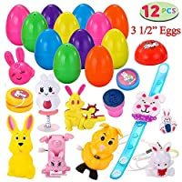 12 PCs Toys Filled Easter Eggs, 3.25