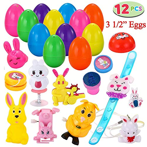 (12 PCs Toys Filled Easter Eggs, 3.25