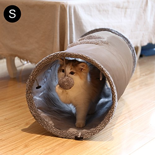 Speedy Pet Collapsible Cat Tunnel, Cat Toys Play Tunnel Durable Suede Hideaway Pet Crinkle Tunnel with Ball,12 inch diameter S by Speedy Pet (Image #1)