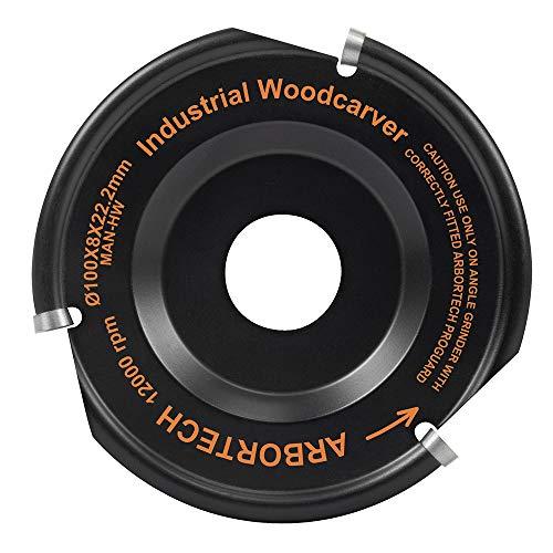 ARBORTECH Industrial Woodcarver   Ø 100 mm Carbide Wood Carving Disc for Angle Grinder   IND.FG.100