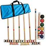 Deluxe Wooden Outdoor Croquet Set - Includes Durable Carrying Case!