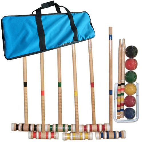 Deluxe Wooden Outdoor Croquet Set - Includes Durable Carrying Case! by TMG