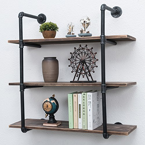 - Industrial Pipe Shelves with Wood 3-Tiers,Rustic Wall Mount Shelf 36.2in,Metal Hung Bracket Bookshelf,Diy Storage Shelving Floating Shelves