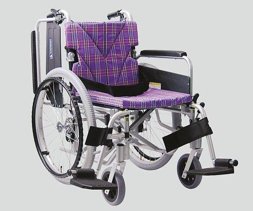 カワムラサイクル8-6722-02車椅子(アルミ製)スイングアウトイン紫チェック B07BD3G61S