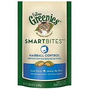 FELINE GREENIES SMARTBITES Hairball Control Cat Treats Tuna Flavor 2.1 oz.