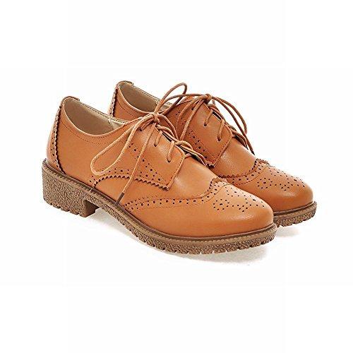 Carolbar Kvinna Brittisk Stil Retro Vintage Spets Upp Komfort Låg Häl Oxfords Skor Gulbrun