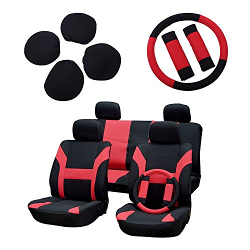 ECCPP Universal Car Seat Cover w/Headrest/Steering Wheel/Shoulder Pads - 100% Breathable Polyester Stretchy Durable for Most Cars Trucks Vans(Black/Red)