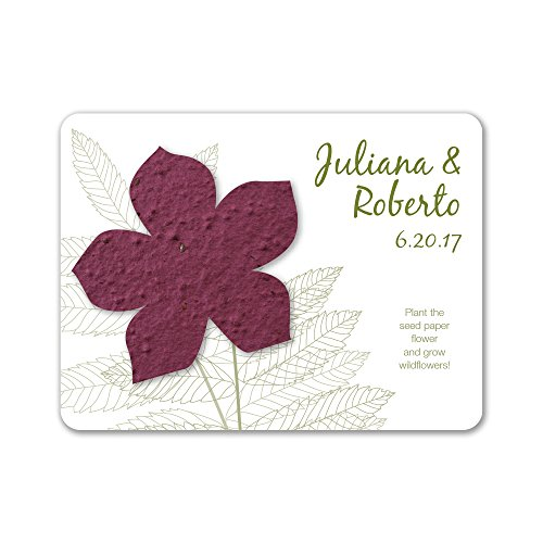 Bloomin Plantable Wildflower Wedding Favor with Seed Paper - Burgundy (25 Card ()