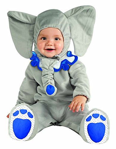 Rubie's Costume Cuddly Jungle Eli-Fun Blue Elephant Romper Costume, Gray, 6-12 Months