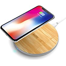 Fast Wireless Charger, Auckly 10W Bamboo Qi Wireless Charging Pad with Matte Aluminum Newest Model for iPhone 8/ 8 Plus/ X and Samsung Galaxy Note8/ Note5/ S9/ S9+/ S8/ S8 Plus/ S7/ S7edge/ S6/ S6Egde