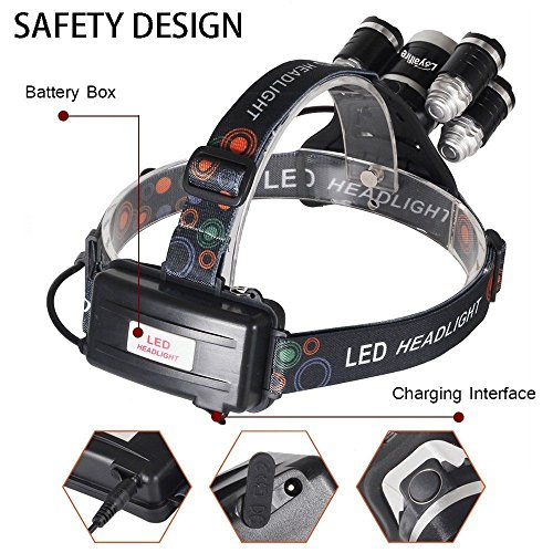 Headlamp 50000LM LED XM-L T6 4 mode Headlight Flashlight head Torch + 2x battery by Mont Pele (Image #3)