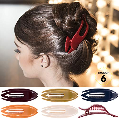 RC ROCHE ORNAMENT Womens French Concord Curved Hair Clip No Slip Strong Grip Comfortable Hold Girls Ladies Beauty Accessory Pin Teeth Clamp, 6 Pack Count Large Classic Multicolor (Cute Hairstyles For Short Curly Hair For Teenagers)