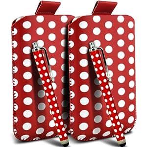 Nokia Lumia 900 Protección Premium Polka PU ficha de extracción Slip In Pouch Pocket Cordón piel cubierta de la caja de liberación rápida y Stylus Pen (Twin Pack) rojo y blanco por Spyrox