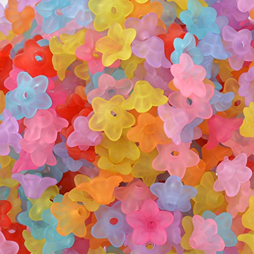 Souarts Mixed Acrylic Frosted Flower Shape Loose Beads Pack of 800pcs