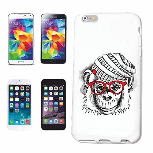 """cas de téléphone iPhone 6+ Plus """"MONKEY CHIMP AVEC CHAPEAU ET VERRES MONKEY MONKEY GORILLA CHIMP SILVER RETOUR APE CHARLY MONKEY KING KONG"""" Hard Case Cover Téléphone Covers Smart Cover pour Apple iPho"""