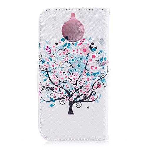 Trumpshop Smartphone Carcasa Funda Protección para Motorola Moto G6 + Mariposas Blancas + PU Cuero Caja Protector Billetera con Cierre magnético Choque Absorción árbol de la vida