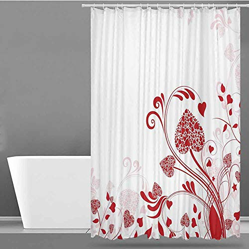 VIVIDX Travel Shower Curtain,Red,Floral Nature Inspired Frame with Heart Shaped Blooms and Curly Leaves Garden of Romance,Metal Build,W72x84L Red White