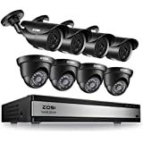 ZOSI 16CH 1080N 720P DVR Outdoor Home Security Camera System Night Vision 4XBullet Cameras and 4XDome Cameras Easy Remote Access No hard drive