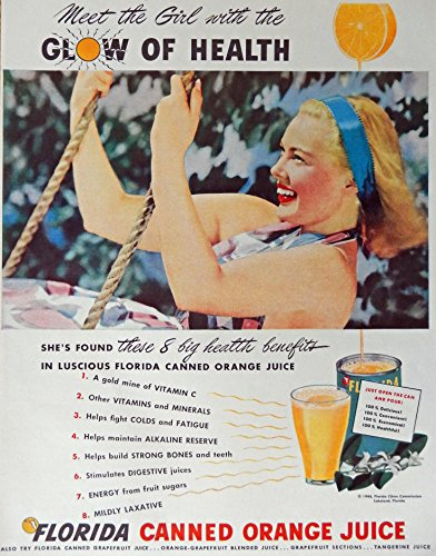 florida-canned-orange-juice-40s-print-ad-full-page-color-illustration-glow-of-health-original-vintag