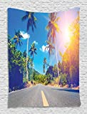 Dorm Room Tapestry Palm Trees Wall Tapestry Summer Joy Clouds Nature Tropical Beach Art Sun Wall Hanging Fabric Room Dividers College Dorm Accessories Exotic Throws Bedroom Decor, Blue Green Yellow